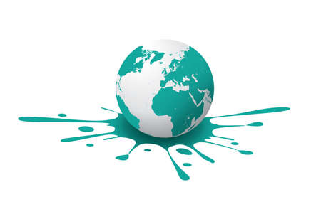 teal: A white and teal globe, with paint splash