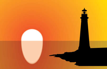 A lighthouse silhouette at sunset, with water reflection