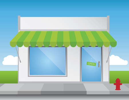Shop front illustration, with shiny elements (no transparencies) and a bright blue sky