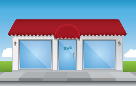 glass door: Shop front illustration, with shiny elements (no transparencies) and a bright blue sky