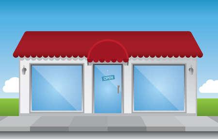 puertas de cristal: Tienda de ilustraci�n frontal, con brillantes elementos (no transparencias) y un cielo azul brillante