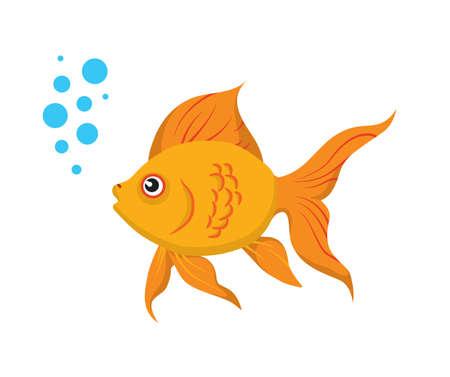 złota rybka: Cute goldfish samodzielnie na biaÅ'ym tle. Nie gradienty lub folii na tej ilustracji wektorowych.