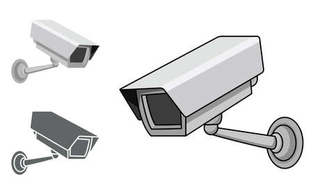 A security camera in 3 different styles, in editable vector illustration.