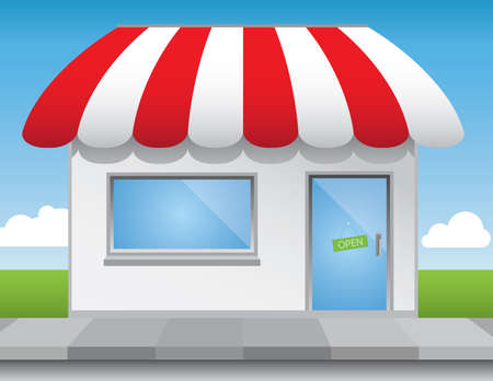 Shop front illustration, with shiny elements (no transparencies) and a bright blue sky.Editable vector file.