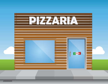 Shop front (pizza place) illustration, with shiny elements (no transparencies) and a bright blue sky.Editable vector file.