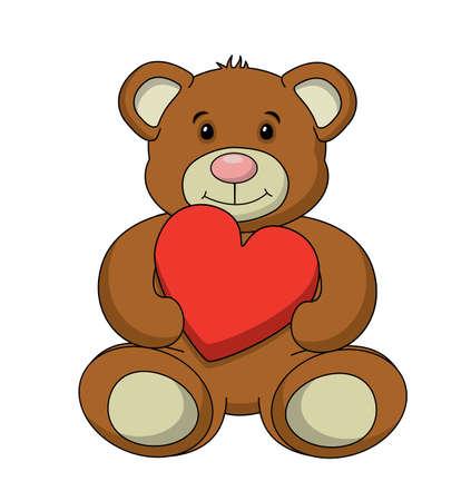An adorable stuffed teddy bear vector, isolated on a white background.  Vector