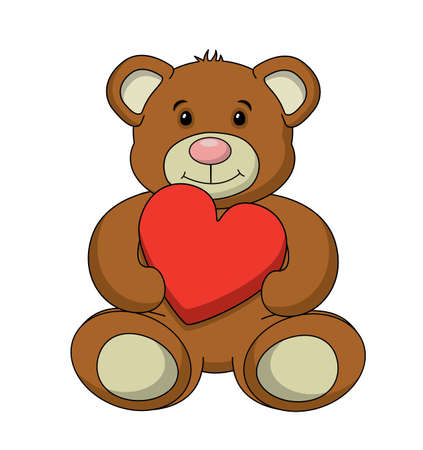 stuffed animals: An adorable stuffed teddy bear vector, isolated on a white background.