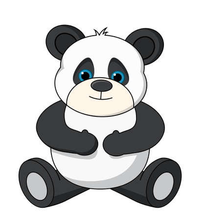stuffed animals: An adorable stuffed teddy pandavector, isolated on a white background.