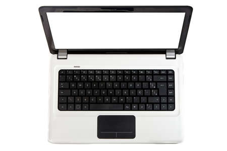 A white notebook with black keyboard and touchpad isolated on a white background with copy space in the screen.
