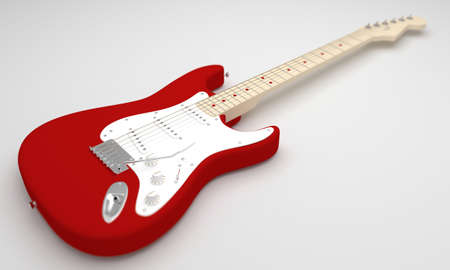 cgi: A CGI image of a red and white electric guitar on a white background