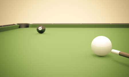 pool table: A white ball in the center of a pool table aiming at the 8 ball near the left corner pocket