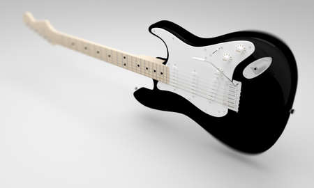 cgi: A CGI image of a black and white electric guitar on a white background. Stock Photo