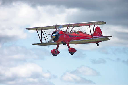 Red 1943 N2S-3 Stearman Navy trainer