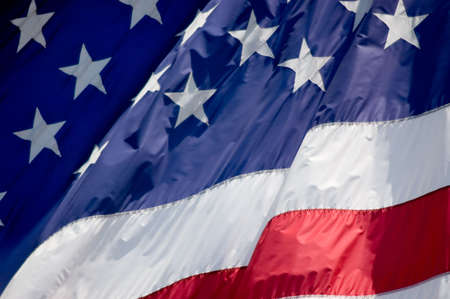 Tightly cropped photo of an American flag. Stock Photo