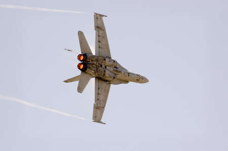 Aircraft turning at very high speed Stock Photo