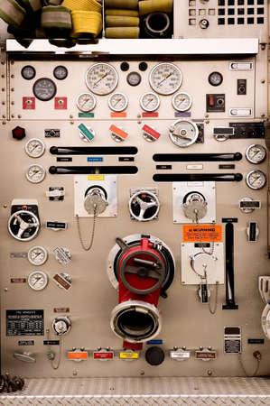 A pumper fire trucks complex control panel