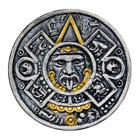 Isolated image of the face of Tonatiuh, from the central disk of an Aztec calendar Stock Photo