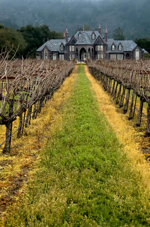 Photo of a large winery in the Napa Valley, taken on an overcast day.
