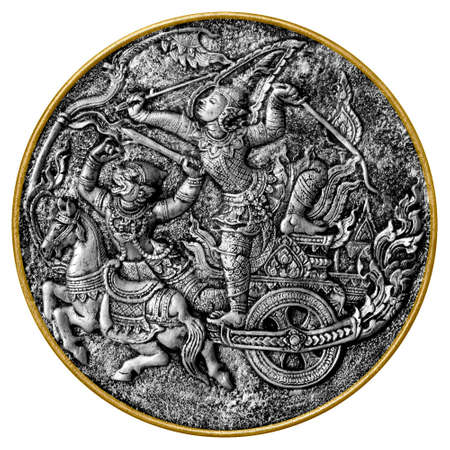 Black and white image of an antique medallion showing Arjuna and Hanuman, characters from Hindu mythology