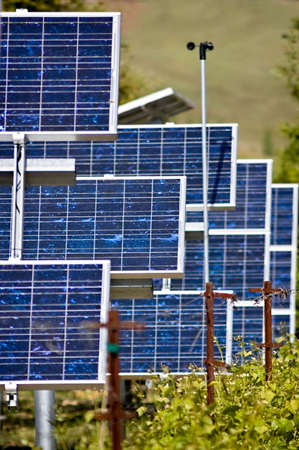 A collection of photo voltaic panels used to power a vineyards equipment Stock Photo