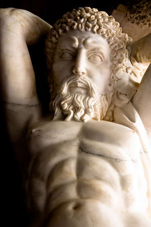 Marble carving of Dionysus, or Bacchus, the Greek god of wine Stock Photo