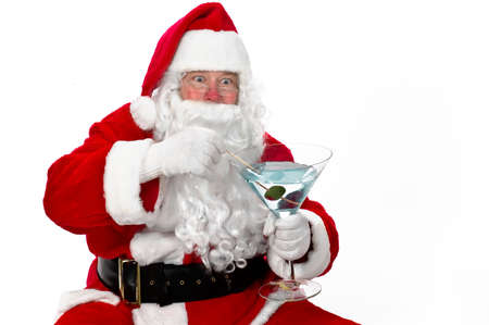 Santa Claus having a cocktail after finishing his deliveries