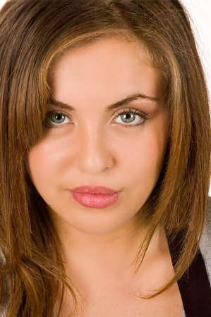 hazel eyes: Retrato de una joven y bella latina con los ojos avellana  Foto de archivo