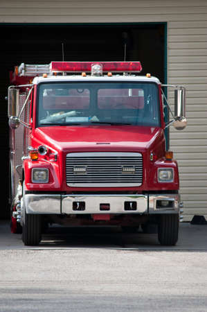 A fire engine parked and ready to roll