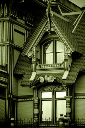 Green monochrome of an old victorian mansion