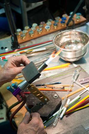 The workbench of a glass artist.