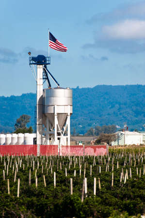 A fertilizer blending tower with an American flag Stock Photo - 6852740