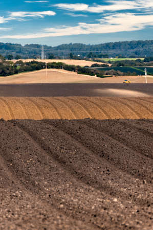 Rolling plowed fields in the Salinas Valley of California Stok Fotoğraf - 9872224