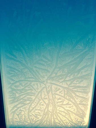 glow: Ice pattern on skylight in the dawn glow