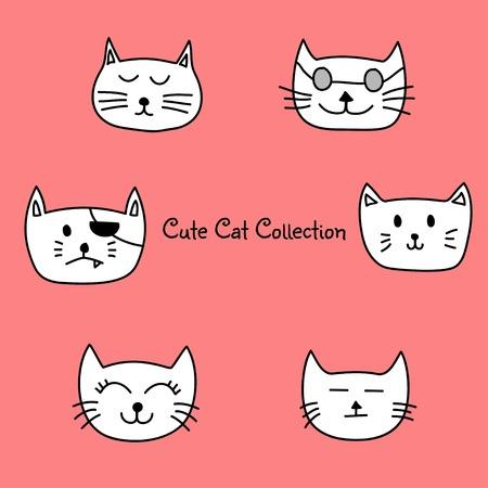 Cute set cat icon collection Illusztráció