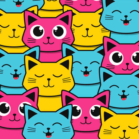 cute and colorful cat pattern