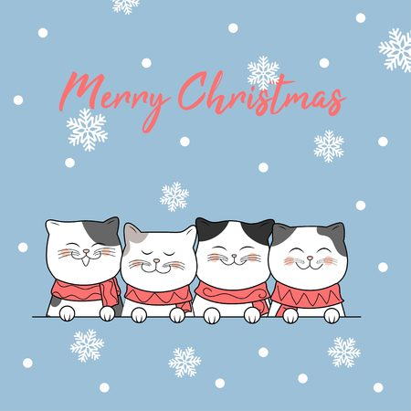 Christmas design with cute cat background