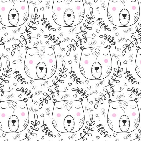 Cute woodland bear pattern hand drawn style