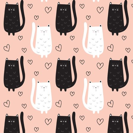 Cute black and white cat pattern