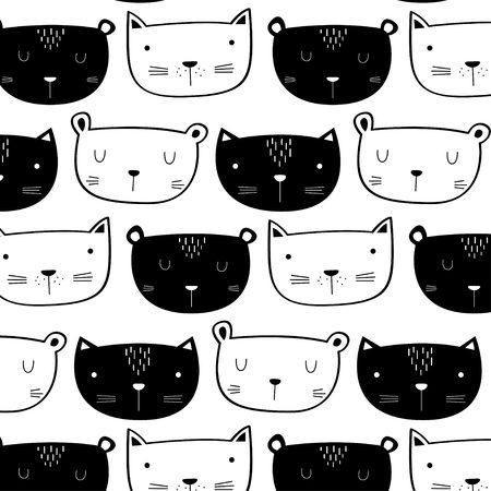 Cute doodle cat pattern
