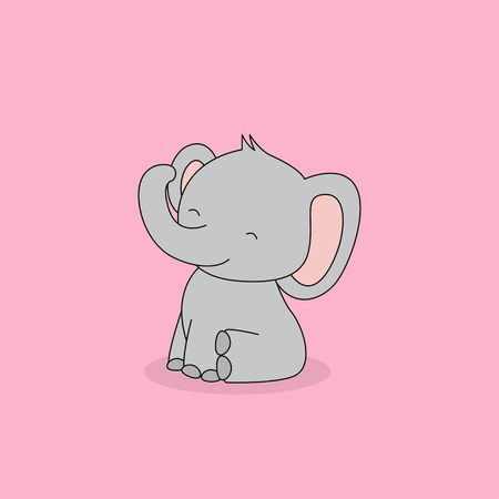 Cute sitting baby elephant