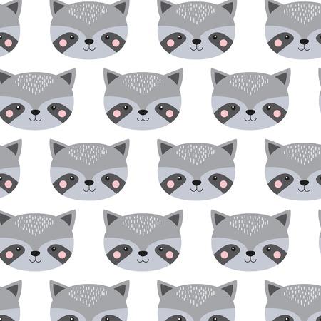 Cute raccoon face pattern