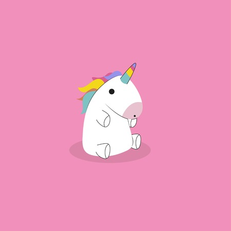 Cute sitting baby unicorn