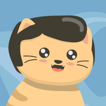 Cute cat face with wig Ilustração