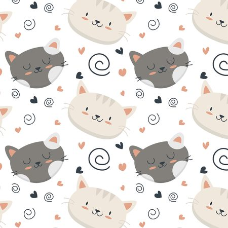 Cute baby cat face pattern