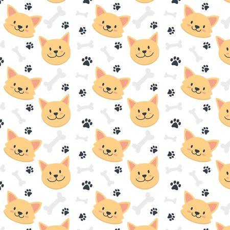 cute dog face pattern Ilustração