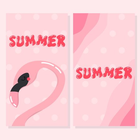 Cute flamingo card set