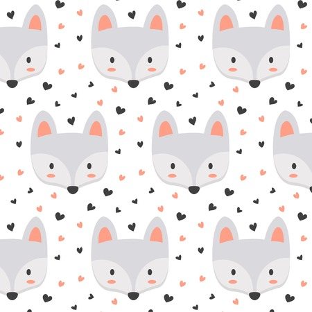 Cute fox pattern with hearts
