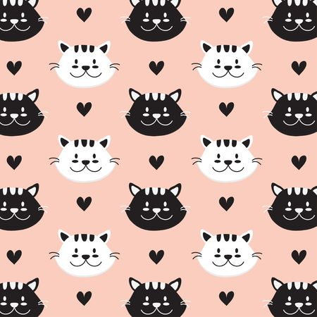 Cute cat face with pink background
