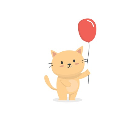Cute cat with red balloon