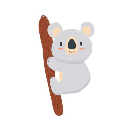 Cute baby koala on a branch Ilustração